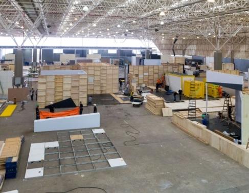 Preparação para evento no Centro de Convenções