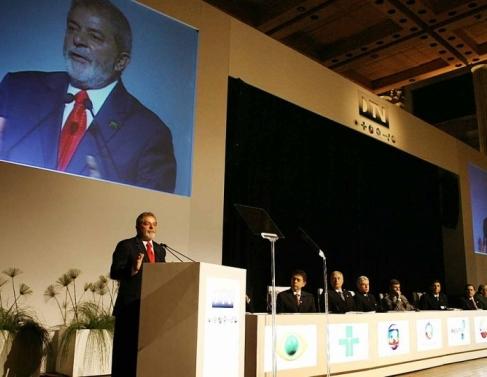 O Ex-presidente Lula da Silva durante cerimônia de lançamento da TV digital no Brasil, na Sala São Paulo em 2 de dezembro de 2007