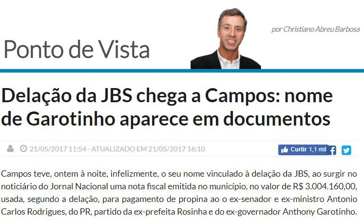 O blogueiro Christiano Abreu Barbosa repercutiu a notícia e mostrou que nota fiscal emitida pela Prefeitura de Campos tinha o nome de Anthony Garotinho