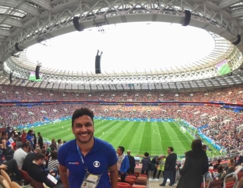 Cahê Mota no Estádio Luzhniki, em Moscou, na abertura da Copa 2018