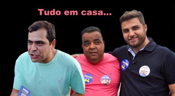 Bruno Dauaire, Paulo Henrique Barreto Barbosa (PH) e Wladimir Garotinho cultivam fortes e antigos laços eleitorais e de cargos (Arte/Somos)