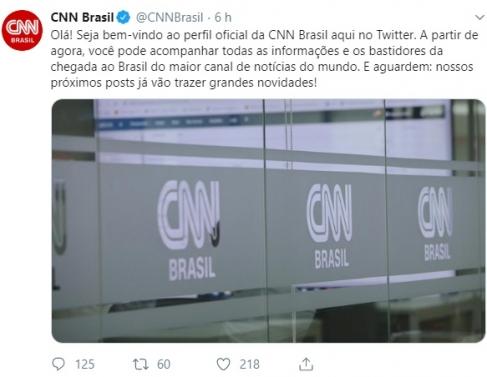 Primeira postagem da CNN Brasil no Twitter