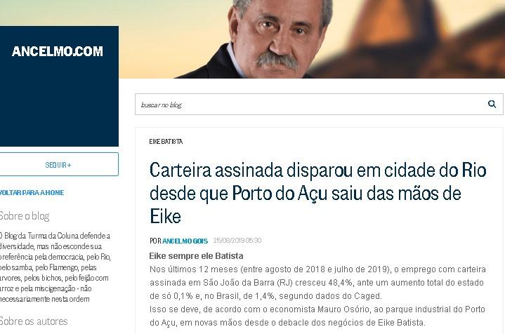 Nota publicada por Ancelmo Gois neste domingo