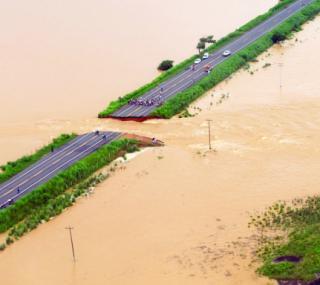 Em 2012, a rodovia rompeu após cheia do Muriaé