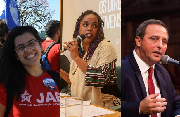 Amanda Durães (UENF), Dani Monteiro (PSOL) e Waldeck Carneiro (PT)