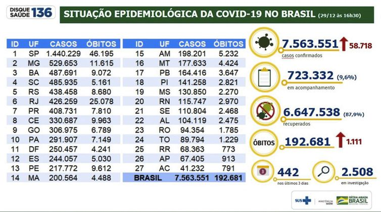 Situação epidemiológica da covid 19 no Brasil /29.12.2020