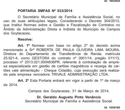 Nomeação de Roberta na Prefeitura de Campos, como gestora do contrato do Cheque Cidadão em 2014