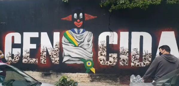 Grafite contra Bolsonaro em Campos
