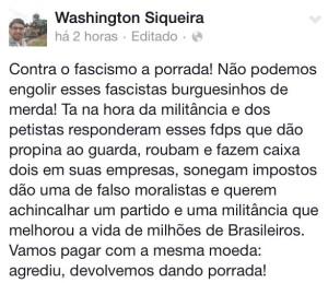 Postagem de Quaquá no Facebook