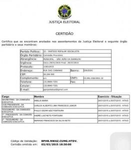 Após rumores de que a presidência do partido ficaria com o grupo governista, o atual presidente publicou a certidão de registro partidário no Facebook. Reprdução