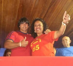 Presidente do PC do B em SJB, Fábio Junior, acompanhado da deputada estadual Enfermeira Rejane