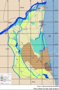 Mapa determina áreas de uso rural, urbano, interesse ambiental e desenvolvimento econômico.
