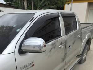 Pneus do carro do vereador estava furado na hora do crime. Foto: Divulgação