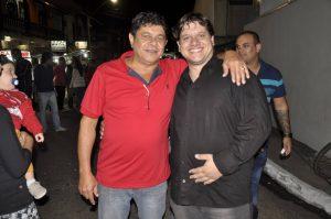Madureira com Leandro Caldas, membro do Rede, após a inauguração do diretório do PP em SJB