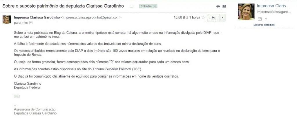 Deputada Clarissa Garotinho faz esclarecimentos sobre erro nas informações no site DIAP