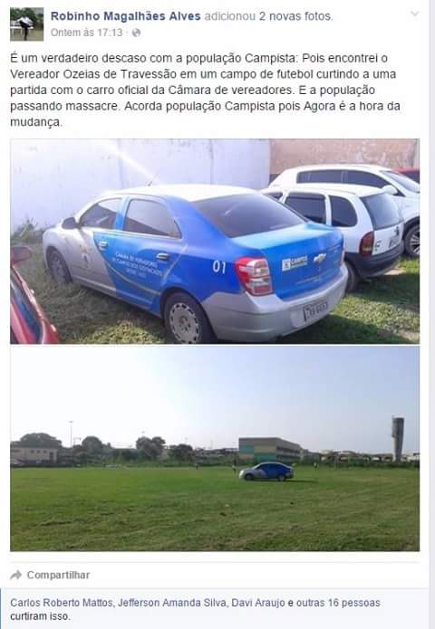 O Veículo é carro oficial da Câmara de Vereadores de Campos dos Goytacazes