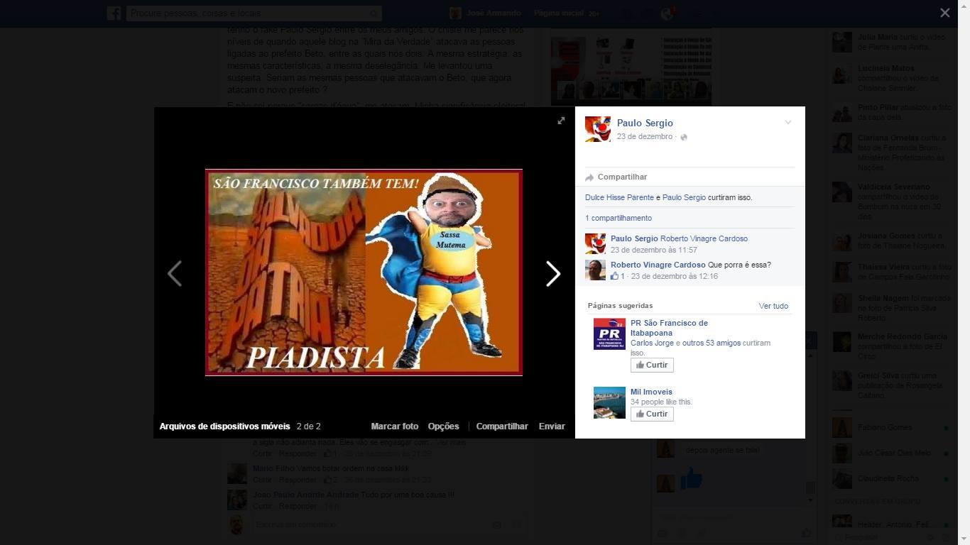 Fotomontagem postada oor usuário com ferfil falso no Facebook