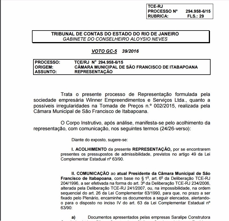Print de tela do documentos disponibilizado no site do TCE-RJ