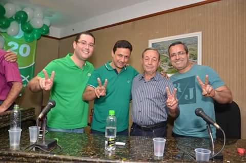 Da esquerda para direita. Filipe Pereira( ex Dep. Est) Léo Pelanca(PSC) Adson da Crisroli (PSDC) e Antonio Marcos ( prefeito de Casemiro de Abreu)