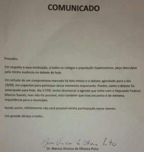 )Vinicius comunicado