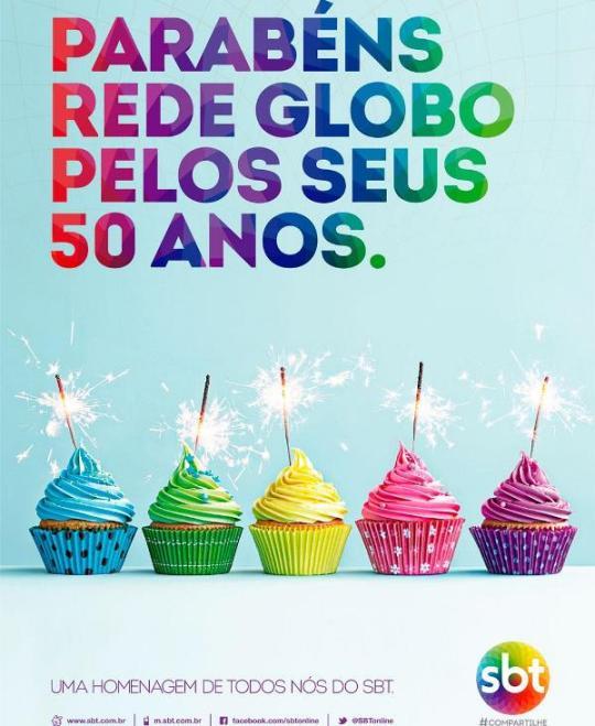 SBT parabeniza Globo pelos 50 anos