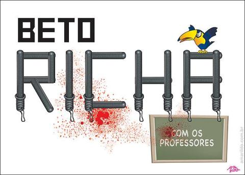 Charge do Amarildo - Beto Richa ataca professores
