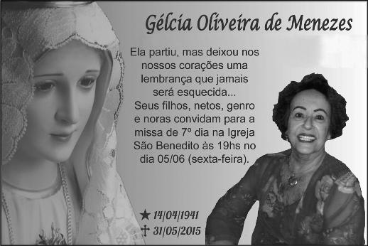 Gelcia Oliveira de Menezes - Missa de 7º Dia