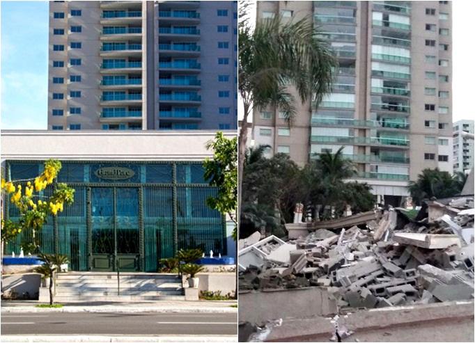 Imagem de antes, à esquerda, e depois do desamabamento, à direita, da fachada do Grand Parc Residencial Resort - Foto: Folha de Vitória