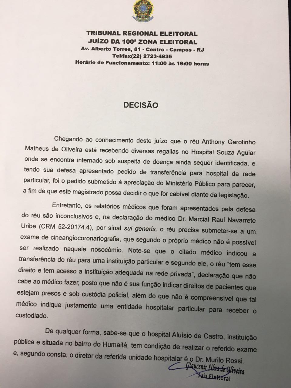 Prisão de Garotinho - Decisão remoção Bangu pag 1