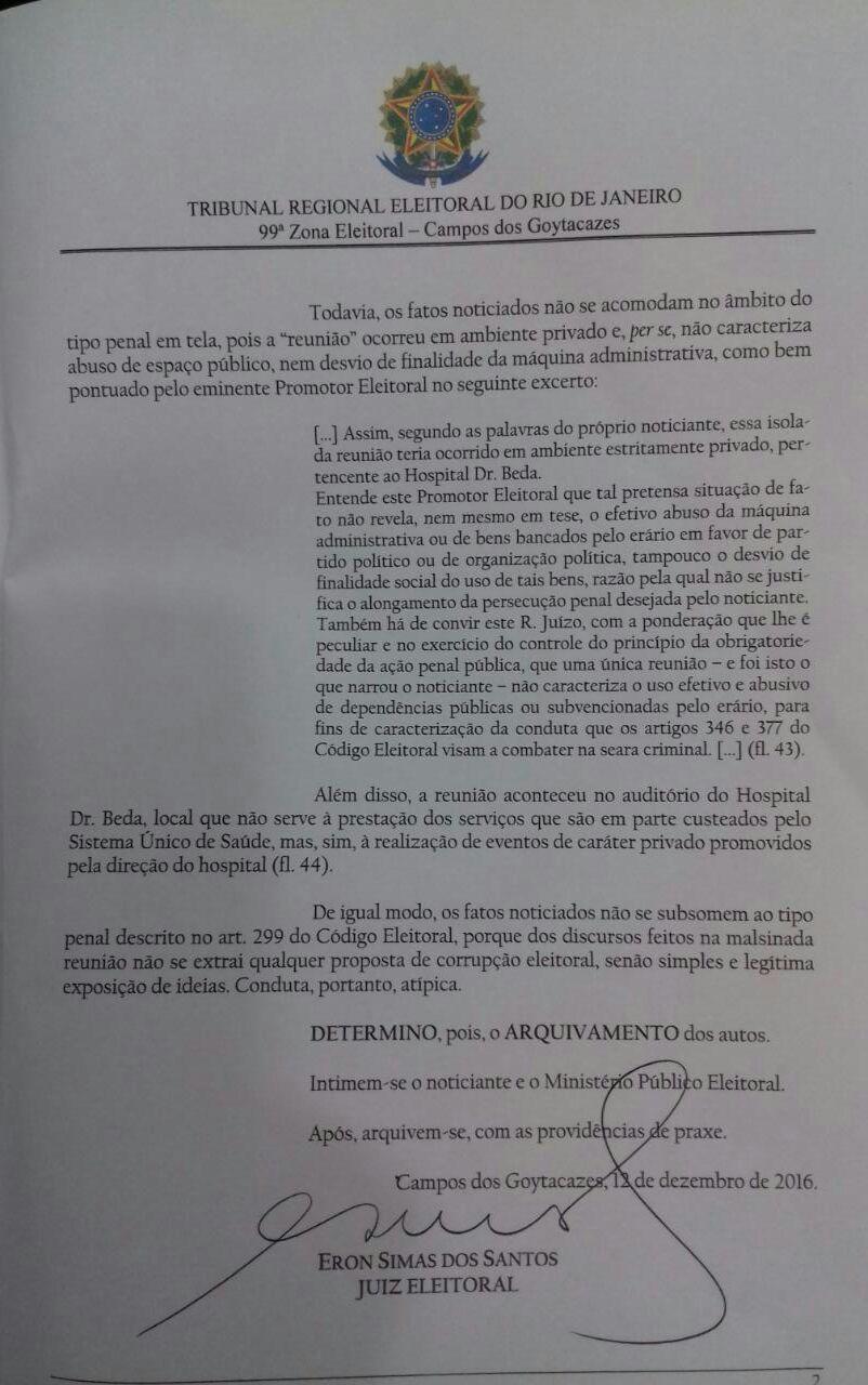 Ação Eleitoral Garotinho contra Rafael - decisão Eron (1)