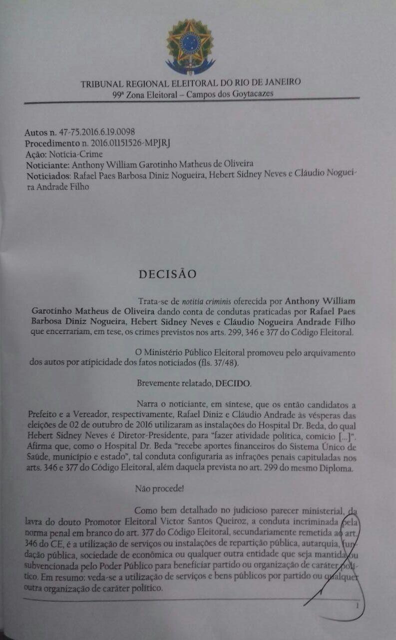 Ação Eleitoral Garotinho contra Rafael - decisão Eron (2)