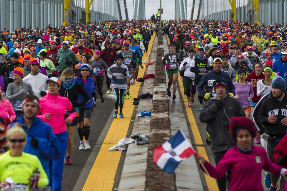 Runners cross the Verrazano-Narrows Bridge shortly after the start of the New York City Marathon in New York