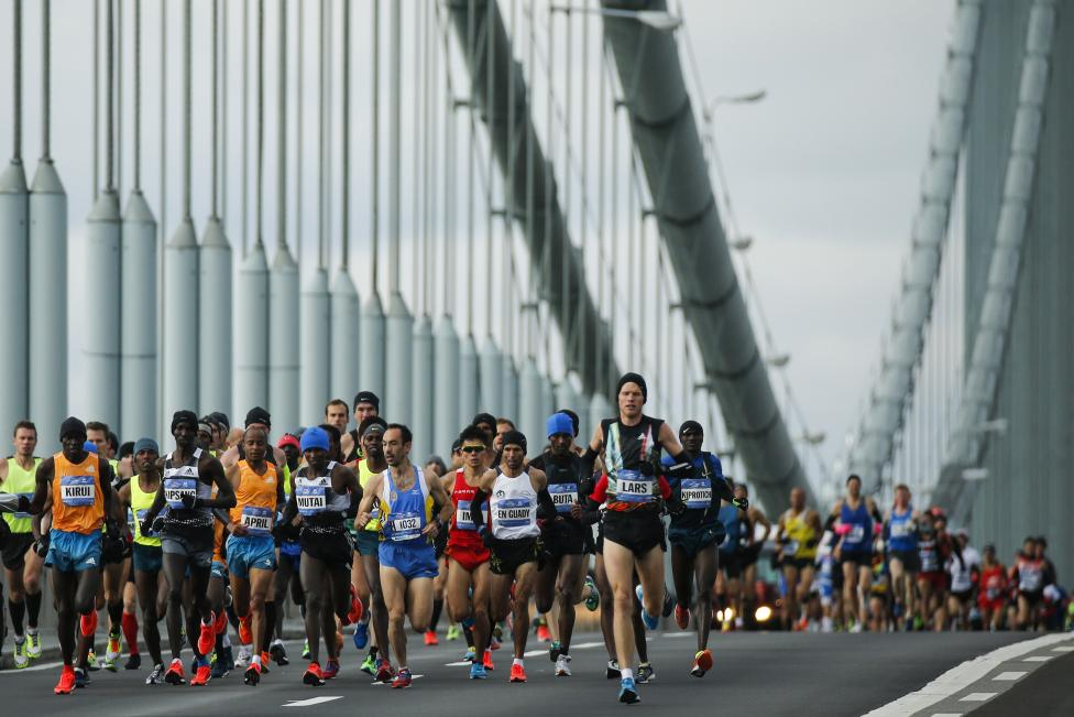 Men's elite runners make their way across the Verrazano-Narrows Bridge during the New York City Marathon in New York