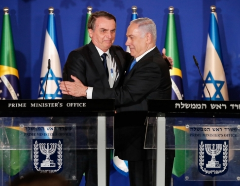 Presidente da República, Jair Bolsonaro, e o primeiro ministro de Israel, Benjamin Netanyahu